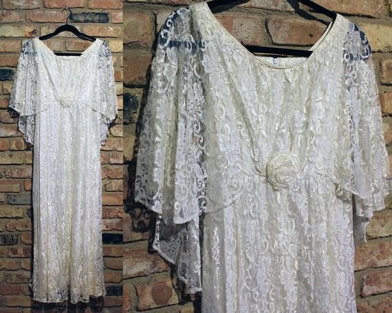 1970s Lace Wedding Dress - 70s Wedding Dress - Vin