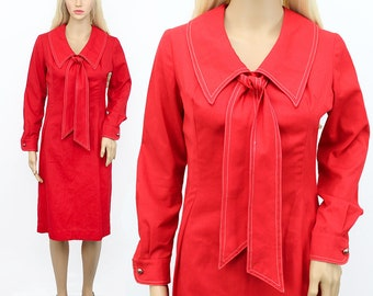 60s/70s Red Dress 6 - Vintage 60s Dress 6 - Red 60s Dress 6 - Red Tie Neck Dress - Retro Red Dress - Red Pin up Dress - Small Red Dress