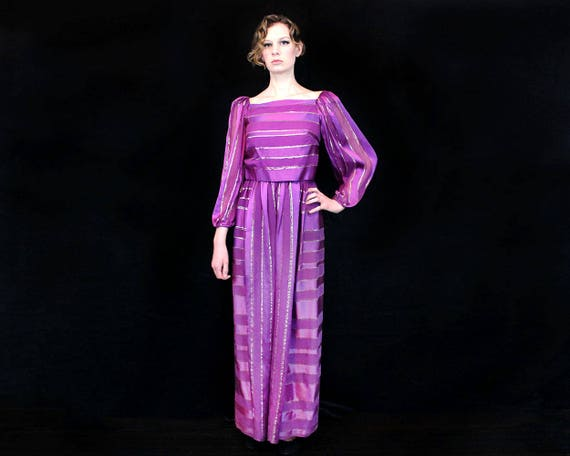 Vintage 1970s Silk Dress Small - Small Purple Dres