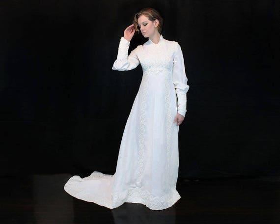 1970s Wedding Dress - 70s Wedding Dress - White Lo