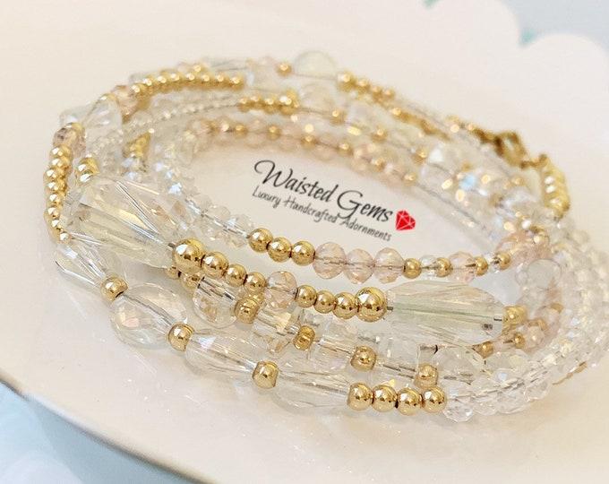Crystal and 14k Gold Waist Beads, Wedding Gift, African Waist Beads, Waist Bead, 14k belly chain, Waistbeads, 14k gold waist beads,  zmw2311