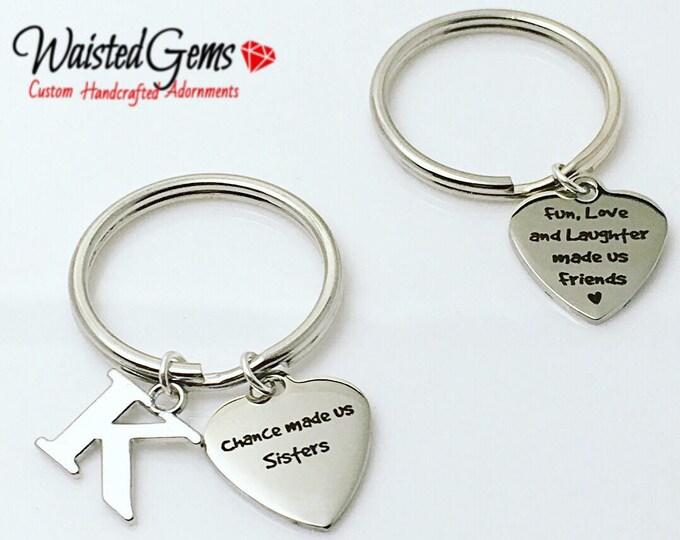 Sisters Custom Charm Keychain, Birthday Gifts, Sisters, Birthday Gifts for Her, Siblings, Secret Santa, Sister Love, Friends  zmw9.14