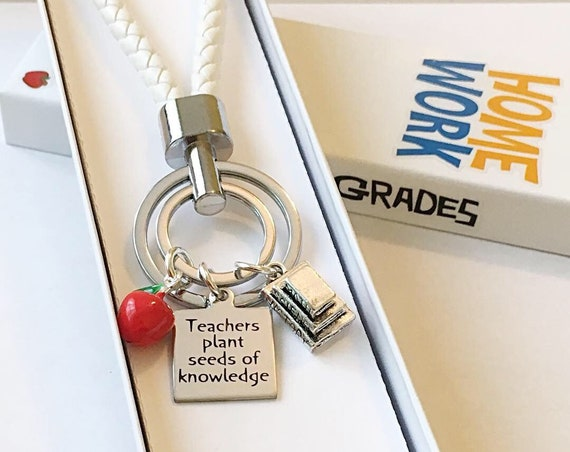 Teachers plant seeds of knowledge Key Chain, Teachers Gifts, Back to School, Students, Custom Key Chains, Teaches,Gifts for her  zmw9902.9