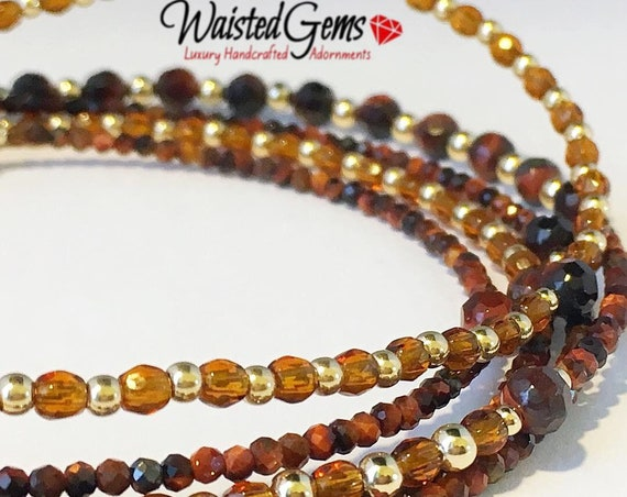 Red Tiger 14k Gold and Gemstone Waist Beads, African waist beads, Gift for her, Gemstone Waist bead,Brown waist beads  zmw2311-19