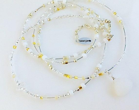 Sea Bliss Glass Waist Beads, Belly Chain, Body Beads, Bikini, African Waist Beads, Boho Jewelry, waist beads zmw4434.3