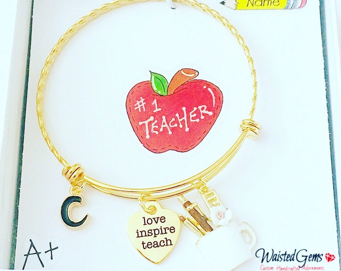 Love Teach Inspire Custom Charm Bracelet, Teachers Gifts, Back to School, Students, Charm Bracelet, Teaches, zmw9902.0