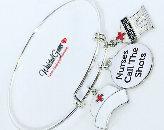 Sterling Silver Nurse Call the Shots Custom Charm Bracelet, Nurse Gifts, Sterling Silver Adjustable Bangle, Nurse Hat, Scrubs,