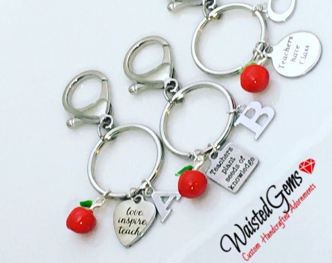 Choice of Teachers Custom Stainless Steal Charm Keychain, Teachers Gifts, Stocking Stuffers, Secret Santa, Gift Idea, Keys, Locks, Apple