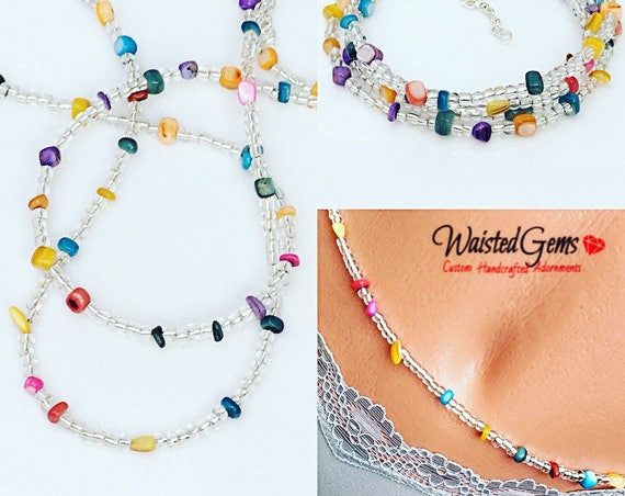 Multi Color Waist Beads, Belly Chain, Body Beads,Gifts for her, African Waist Beads, Boho Jewelry,valentines day gift for her  zmw4434.3