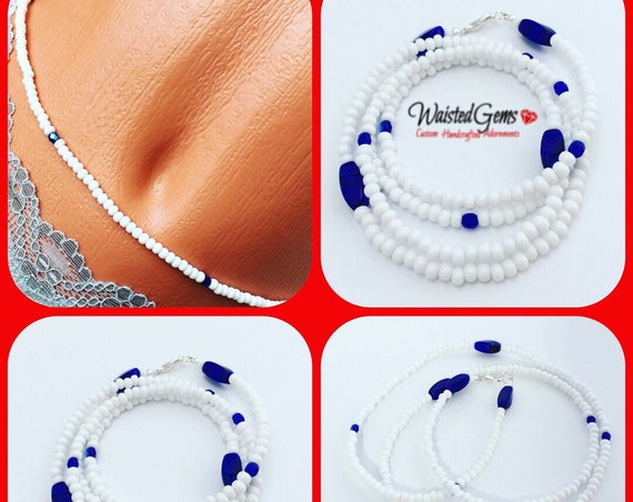 White and Blue Waist Beads, Belly Chain, Body Beads, Bikini, African Waist Beads, Boho Jewelry, waist beads zmw4434.3
