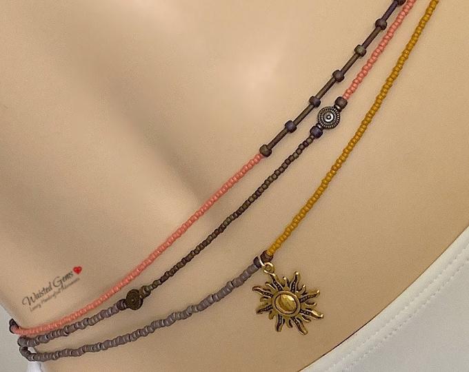 Honeydew Triple Strand Waist Bead Set, African Waist Beads, Purple Waist Beads, Belly Chain, Plus Size Waist Beads, Custom Waist Bead Set