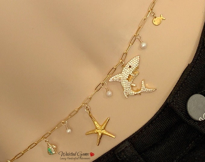 14k Sea Side Charm Waist Chain,Bikini Body Chain,Bikini Jewelry, Chain Belt, Plus Size Body Chain, Gifts for her, 14k Charm Belt