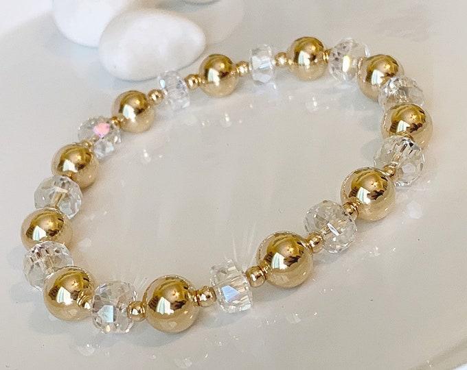14K Gold and Crystal Beaded Bracelet, Beaded Bracelet Set, Stacking Bracelets, Stretch Bracelet,Bracelet,