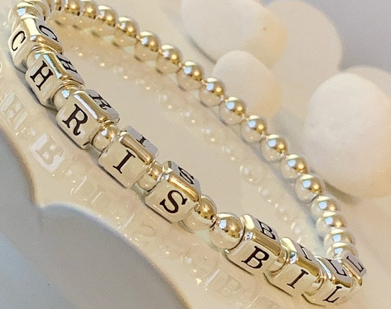 Sterling Silver Mothers Day Bracelet, Sterling Silver Grand Mothers Beaded Bracelet, Name Bracelet, Mothers Day gift, Gifts for her