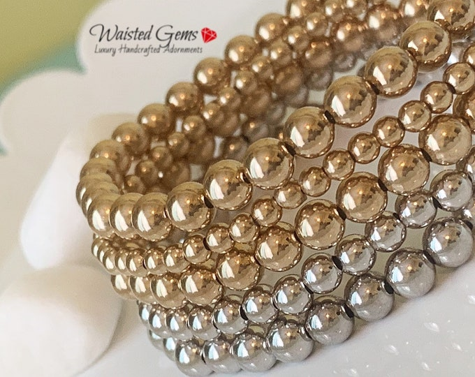 14k Solid Gold Beaded Bracelet, Stacking Bracelets, Stretch Bracelet, Jewelry,White Gold Beaded Bracelet,mJewelry, Rose Gold Beaded Bracelet