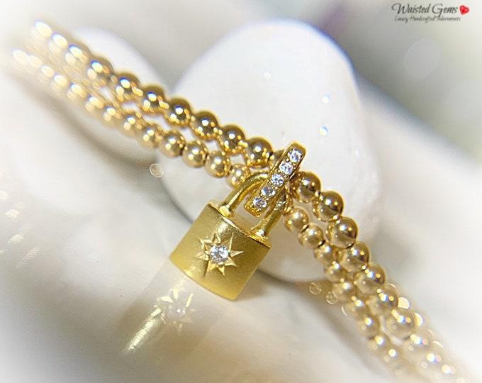 14k Gold Dainty Padlock Bracelet Set, Dainty Gold Bracelets, Gold Beaded Bracelet, Charm Bracelet, Minimal gold bracelet, Padlock Bracelet