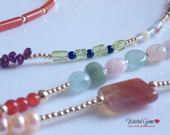 Grown Woman Shit!!! 14k Gold and Gems Waist Beads, African waist beads, Gift for her, Gemstone Waist bead,  zmw2311-19