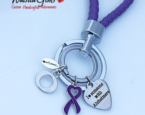 Alzheimers Love Key Chain, Awareness Key Chain, Warrior Key Chain,I love someone with Alzheimers    zmw9088