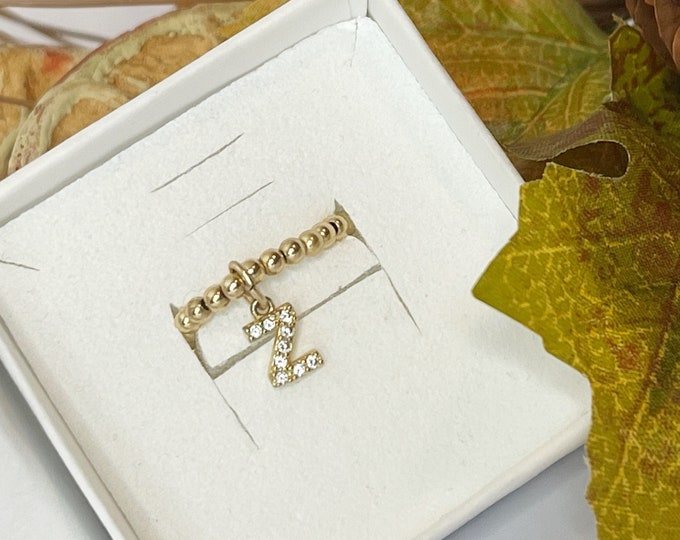 Initial Charm Ring | 14k Diamond Pave Initial Charm Ring | Stackable | Pinky Ring | Stretch | Gold Bead Ring | 14k Gold Filled Bead Ring