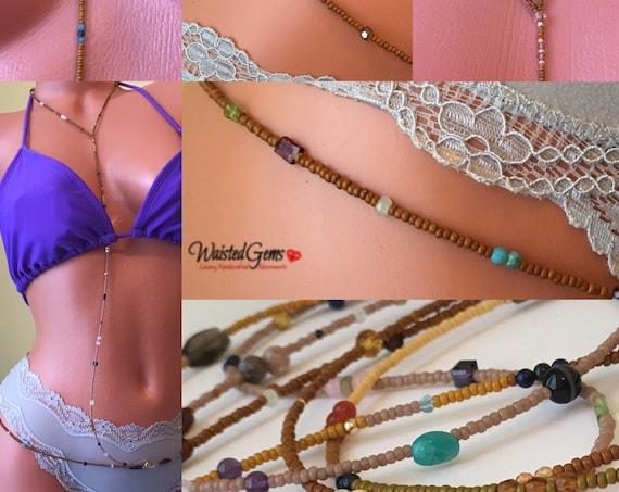 Sweet and Savory Gemstone Body Beads , Waist Beads, African Waist Beads,Body Chain, Crystal Body Beads