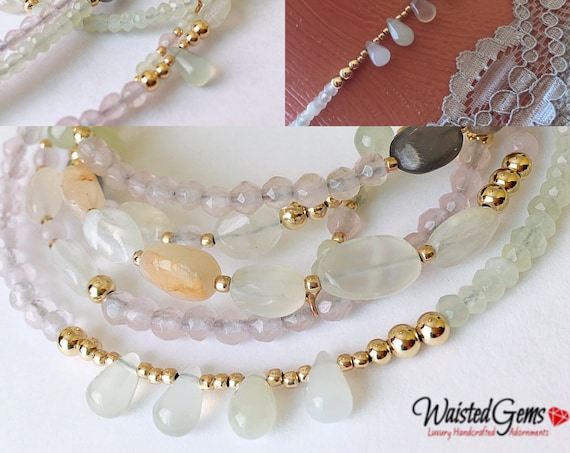 Peaceful Wisdom Waist Beads, African waist beads, Gift for her, Gemstone Waist bead,Jade waist beads  zmw2311-19