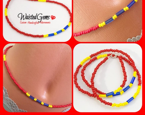 Red and Yellow Waist Beads, Brown Waistbeads, belly chain, Summer Jewelry, beach wear, Summer Party, Summer, Boho, Brown anklet,  zmw02