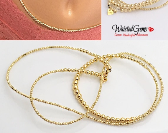 Free Anklet w/ 14k Gold Waist Beads, African Waist Beads, 14k Gold Bead Necklace, 14k Gold Belly Chain, Waist bead, Waisted Gems, zmw2311-93