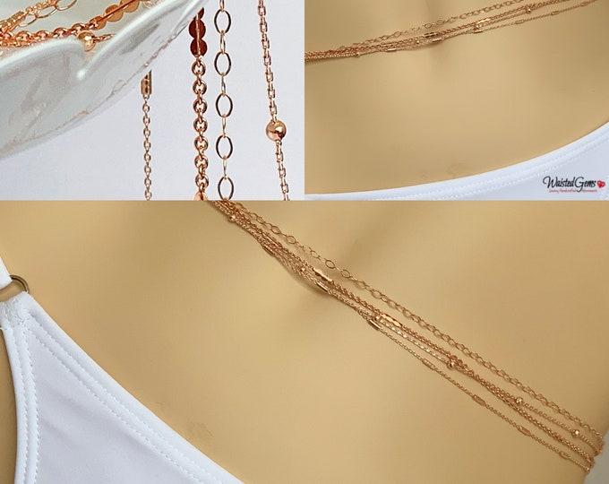 14k Rose Gold Quadruple Strand Waist Chain, Wedding Gift, Gold Waist Chain, African Waist Beads, Gifts For Her, Back Chain