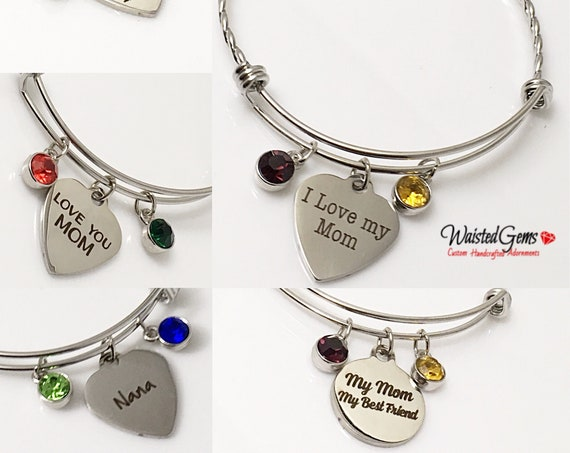 Mother's Day Charm Bracelet, Mothers Day Gifts,  Gifts for her,  Gifts, Grand Mothers Day Bracelet, Stackable Bracelet zmw5505.33