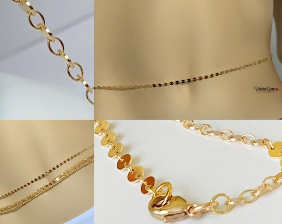 14k Gold Disk Waist Chain,14k Gold Belly Chain, Plus Size Waist Chain, Waisted Gems, Gift for Her,