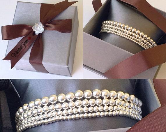 14K Gold Filled Beaded Bracelet, Stacking Bracelets, Rose Gold Beaded Bracelet, Silver Beaded Bracelet,Gold Beaded Bracelet for women