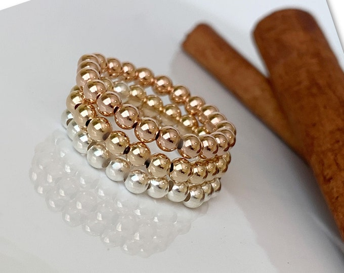 14k Solid Gold Beaded Rings | Rose Gold Ring | 14k Beaded Rings | Stackable Rings | Sterling Silver Ball Ring | Band Ring | 14k Stretch Ring