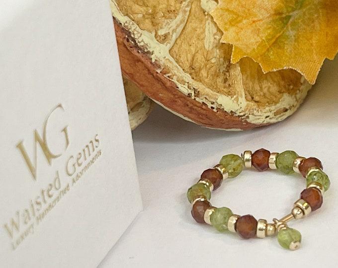 14k Garnet Beaded Ring | Peridot Gemstone Ring | 14k Beaded Rings | Garnet and Gold Ring | 14k Stretch Rings