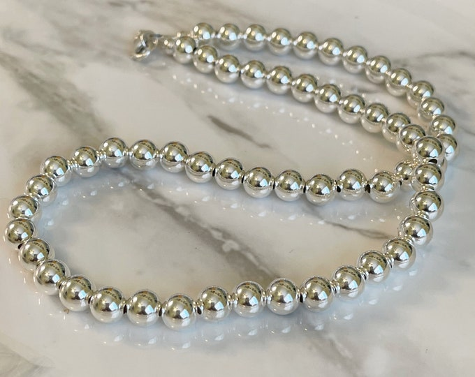 8mm Silver Beaded Choker, Silver Ball Necklace, Pearl Necklace, Mothers Day Gift, Ball Beaded Choker, Bold Necklace,
