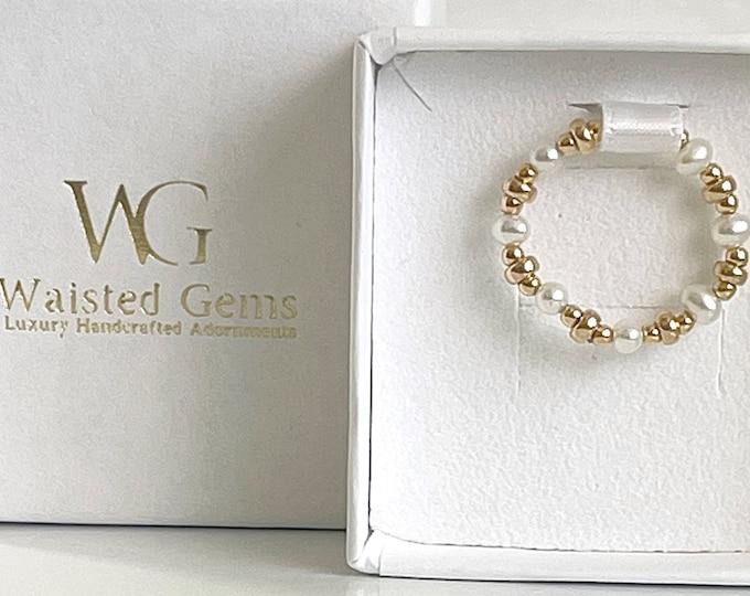 14k Freshwater Pearls Beaded Ring 2pc Set, Pearl Rings, 14k Beaded Rings, Pinky Rings, Band Ring, Stretch Rings