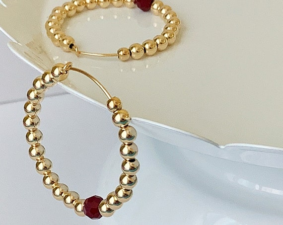 "14K Gold Filled Beaded Hoop Earrings, Beaded Hoops, 1.50"" Hoop Earrings, Statement Earrings, Beaded Earrings, Gold Hoops"