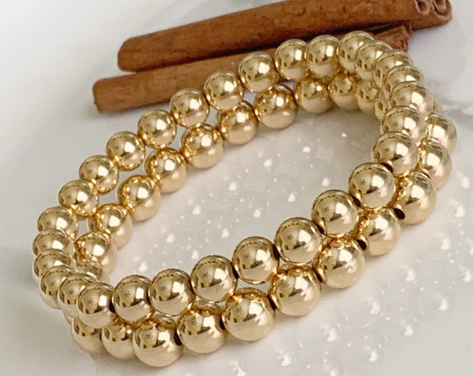14k Beaded Bracelet, Designer Bracelets, Gold Beaded Bracelets, Gifts for her, Large Beaded Bracelets,