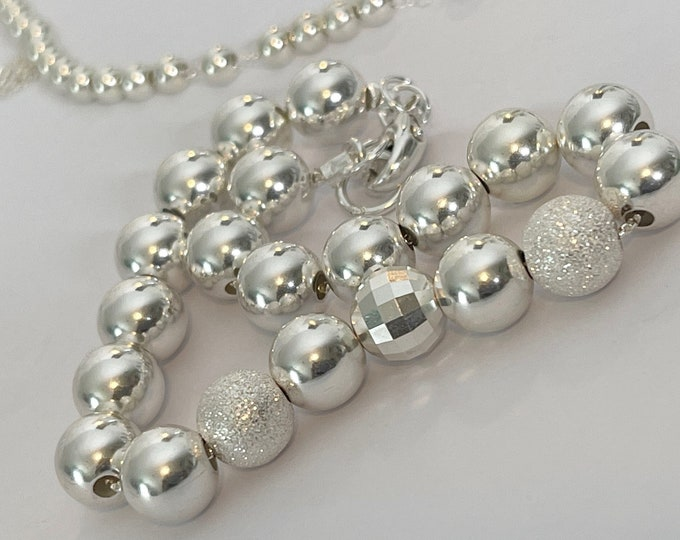 Silver Bead Bracelet | 8mm Silver Bead Chain | Silver Ball Bracelet | Gifts for her | .925 Beads | Handmade Shiny Silver Ball Bead Bracelet