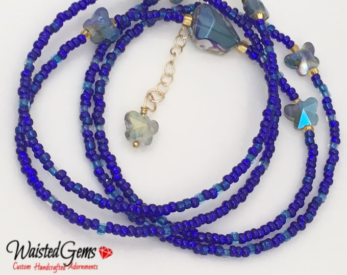 Blue Butterfly Waist Bead, Waistbeads, Blue Waist Beads,Butterfly, summer jewelry, Gift For Her, Belly Chain, Sale  zmw1701
