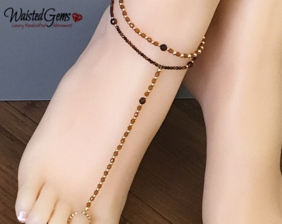Harmony Barefoot Sandal, Red Tiger 14k Gold Anklet, Tigers Eye Anklet, Gold Filled Anklet, Gold Filled Barefoot Sandal