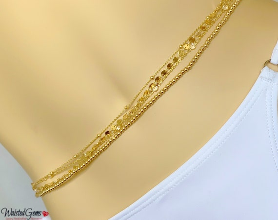 Champagne Bubbles 14k Gold Quadruple Strand Waist Chain, 14k Wedding Gift, Gold Waist Chain, African Waist Beads,Gifts For Her, Back Chain