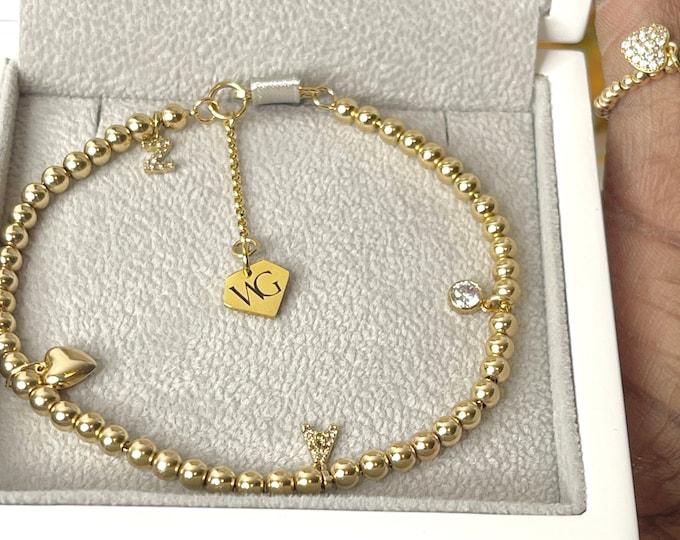 Diamond Initial Beaded Bracelet | 14k Gold Beaded Bracelet | Mother's Day Gift | Unisex Luxury Gift | Gold Bracelet Set | 14k Yellow Gold