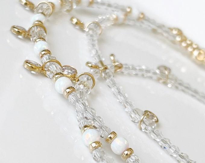 Diamond and Opal 14k Gold Waist Beads | Luxury Waist Bead | Bridal Waist Beads |  Gold Belly Chain | Swarovski Crystal Waist Beads