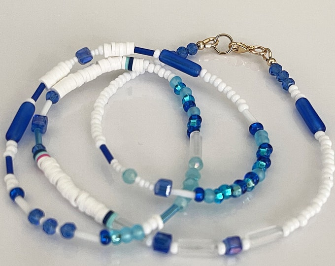 SAMPLE SALE - SIZE 25 Inches Blue Breeze Waist Bead |  Waist beads | Waist Chain | Body Jewelry | Belly Chain | Plus Size Waist Beads