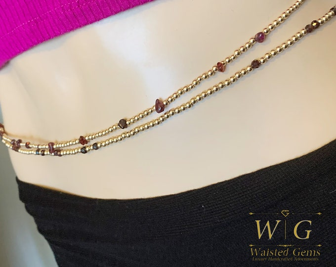 Double Strand 14k Gold and Garnet Double Strand Waist Bead Set, Wedding Gift, Gold Waist bead, African Waist Beads, Christmas Gift