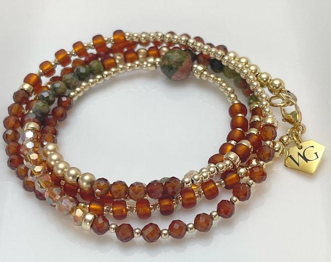 Unconditional Waist beads / Unakite Waist Beads / Crystal Waist Beads / Green / Brown Waist Beads / Waist Jewelry / Gifts for her /