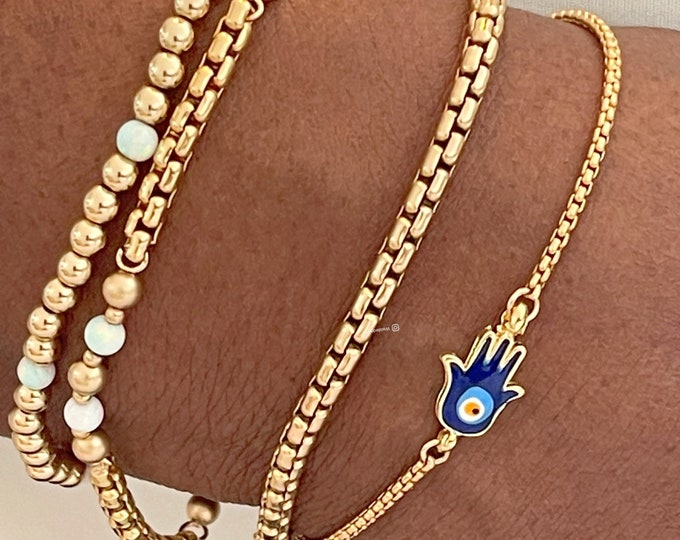 14k Gold 1.7mm Rounded Venetian Box Chain Bracelet | Gold Charm Bracelet | 14k Gold Dainty Bracelet | Hamsa Charm Bracelet, Christmas Sale