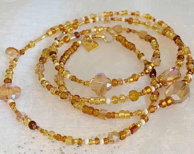 Treasure Chest Waist Beads, Beige Waist beads, Brown Waist Beads, Crystal Waist Beads, Gold Waist Beads, Natural African Waist Beads