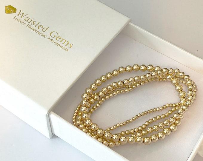 Gold Beaded Bracelet Set | Handmade Bracelet | Elastic Bracelet | Shiny Bead Stacking Bracelet | Gold Jewelry | Unisex Gift