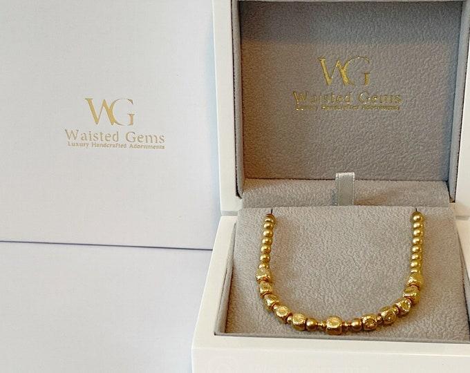 Gold Waist Beads   14k Gold Belly Chain   Plus Size Waist Beads   Luxury Gift For Her   Waist Beads on Chain   African Waist Beads  